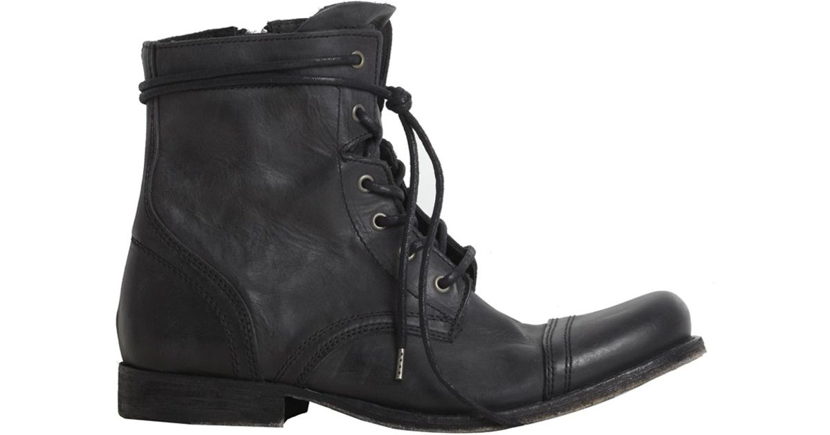 Lyst - AllSaints Cropped Military Boot in Black for Men 05f8dc2919c