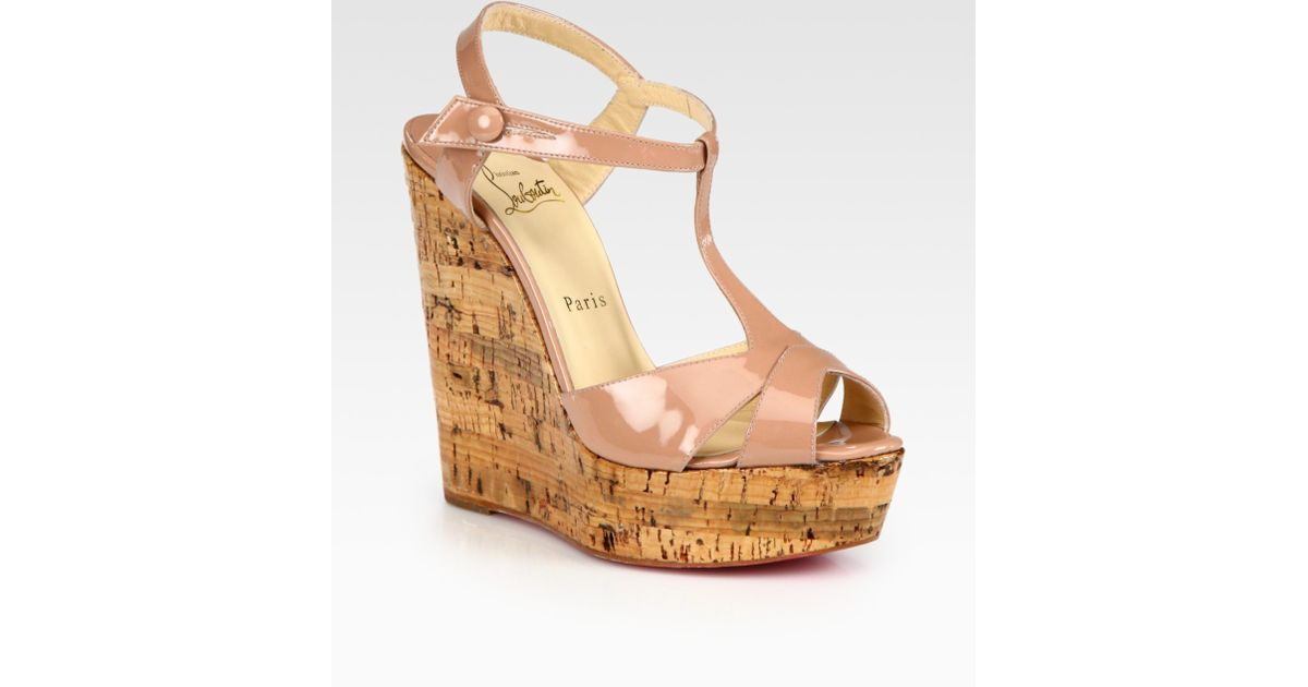 2fa1ab3d7243 ... wholesale lyst christian louboutin patent leather t strap cork wedge  sandals in brown 3432e 8e446