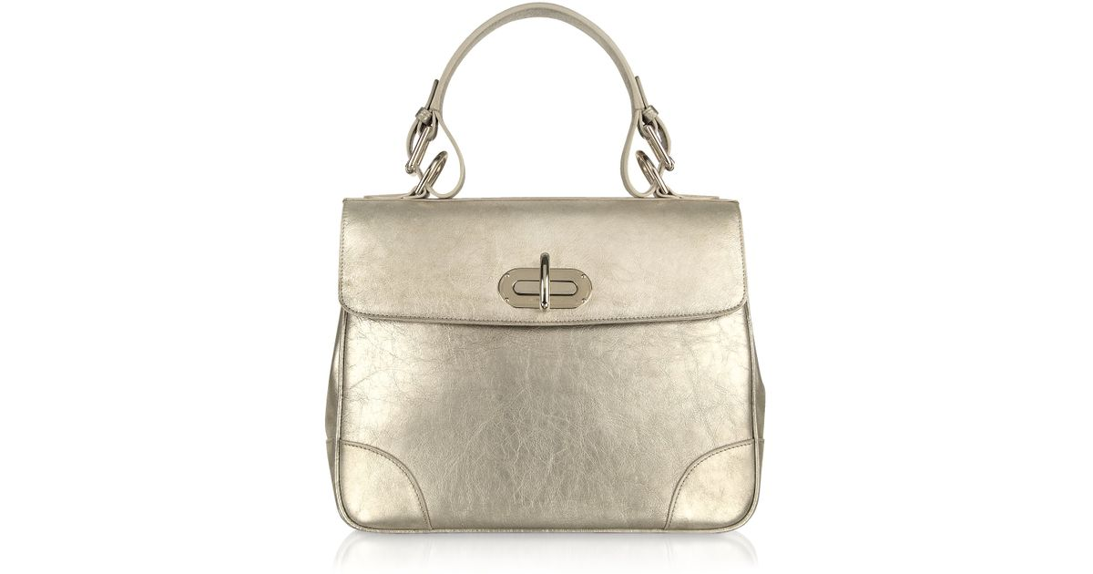 ffa49fa10ab0 Lyst - Ralph Lauren Collection Small Tiffin - Silver Leather Bag in Metallic