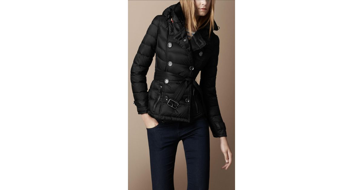 d298eb0d1 Burberry Brit Down Filled Hooded Jacket in Black - Lyst