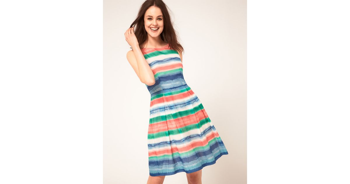 Lyst - Boutique By Jaeger High Waist Striped Prom Dress