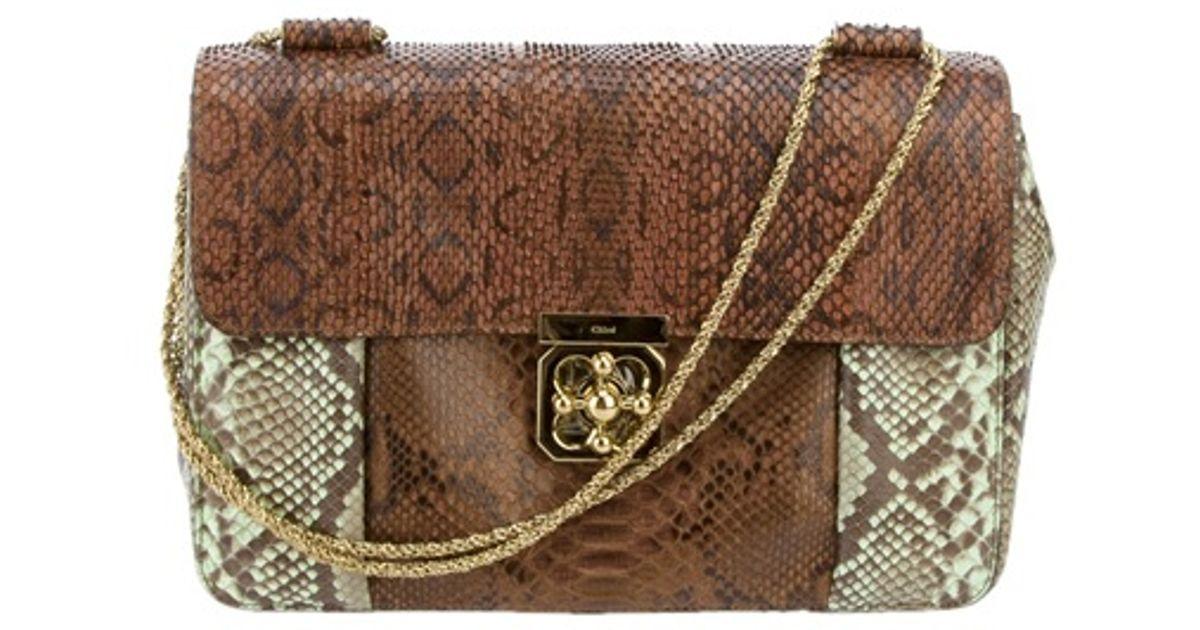 Chlo¨¦ Elsie Python Skin Bag in Brown | Lyst