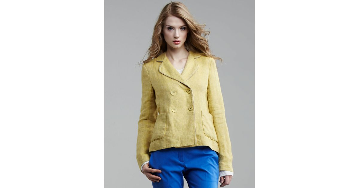 Theory Linen Blazer in Yellow | Lyst
