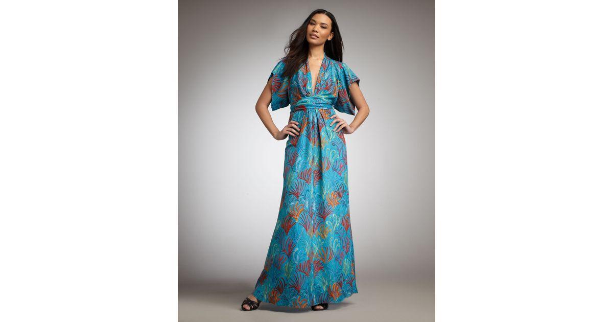 Issa Printed Maxi Dress in Blue   Lyst