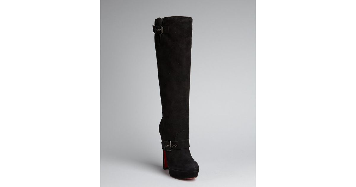 Christian louboutin Black Suede Harletty Buckle Platform Boots in ...