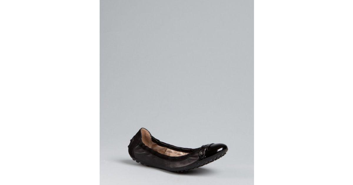 0284ba7f618c1 Tod'S Black Leather Dee Buckle Ballerina Flats in Black - Lyst