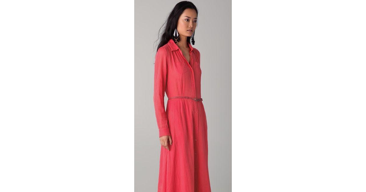 Lyst - Antik Batik Marina Shirt Dress with Belt in Red 0f81d2c4b