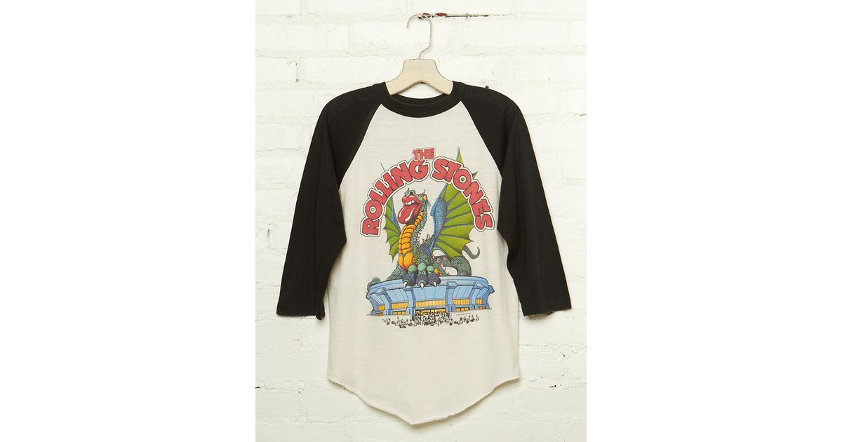 43efa0ac Free People Vintage Rolling Stones Graphic Baseball Tee in Black - Lyst