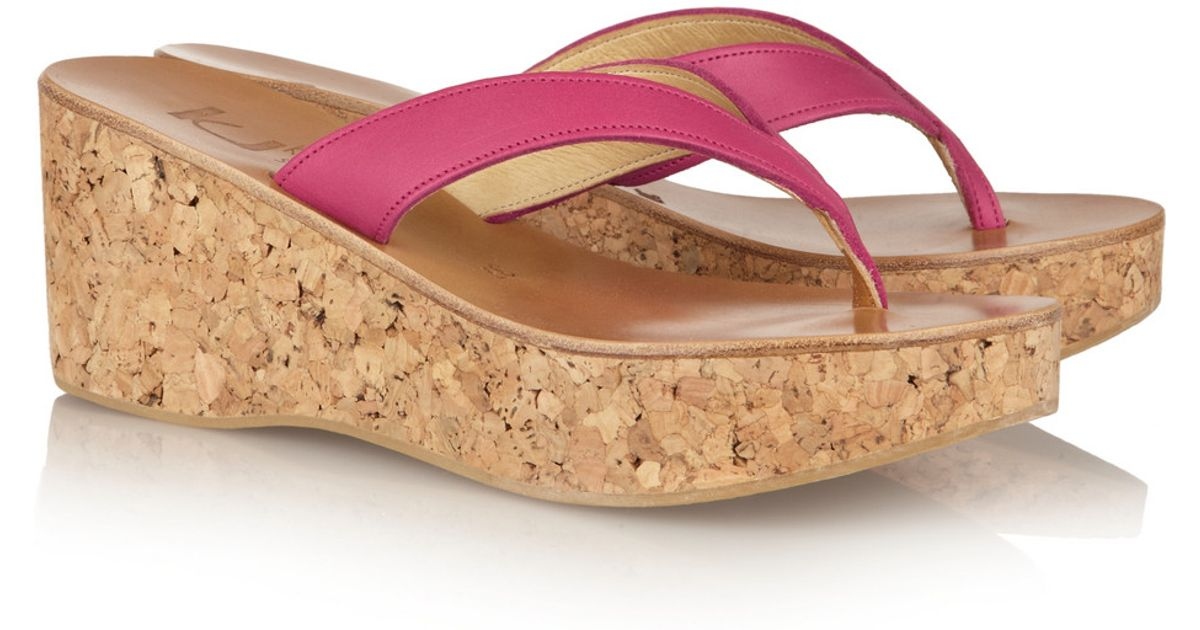 7e2a6132ed35 Lyst - K. Jacques Diorite Leather and Cork Wedge Sandals in Pink