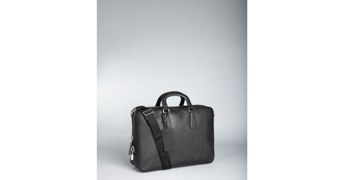 059f7e572953 Prada Saffiano Leather Zip Lock Travel Bag in Black for Men - Lyst
