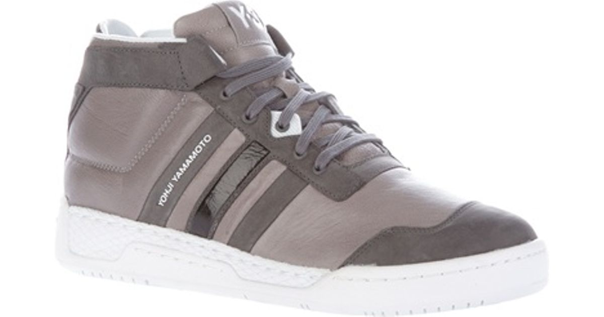 free shipping 0406f 802d9 Y-3 Courtside High Top in Gray for Men - Lyst