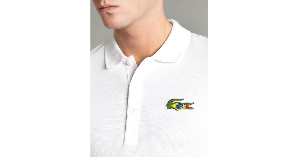 lacoste slim fit brazil croc polo shirt in white for men. Black Bedroom Furniture Sets. Home Design Ideas