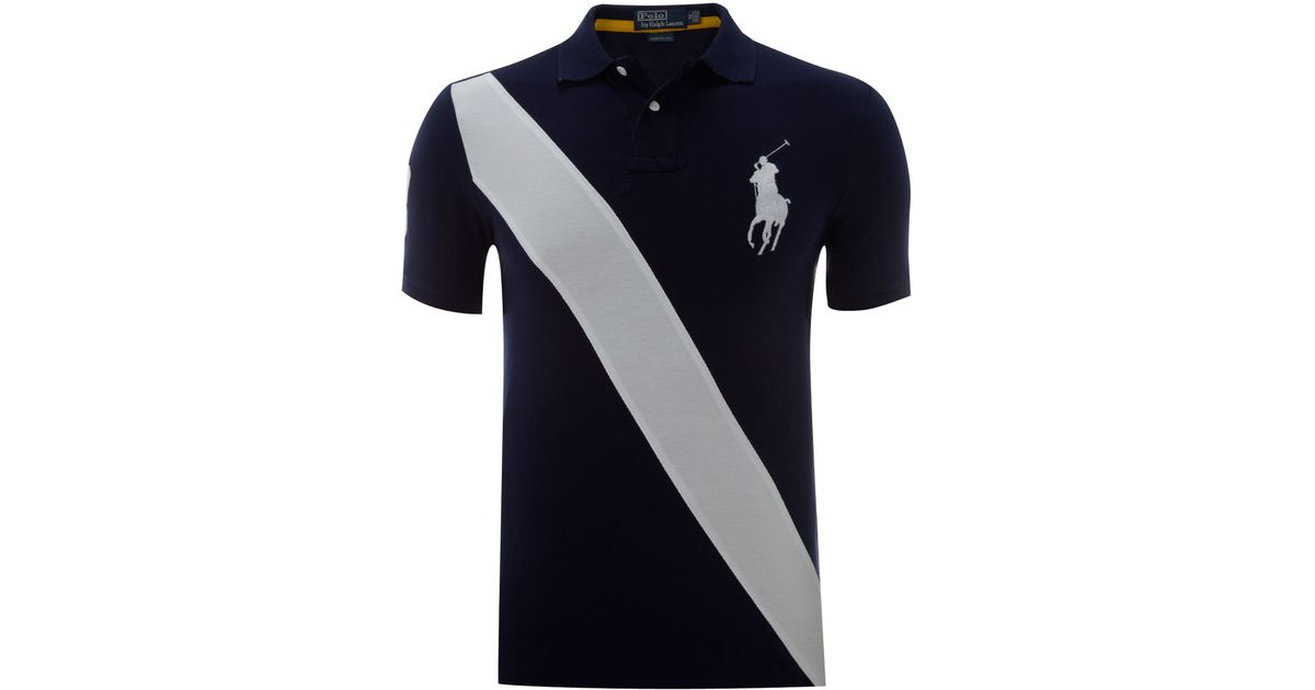 50cfe11c2 ... sweden polo ralph lauren custom fitted sash striped polo shirt in blue  for men lyst 6b3ab