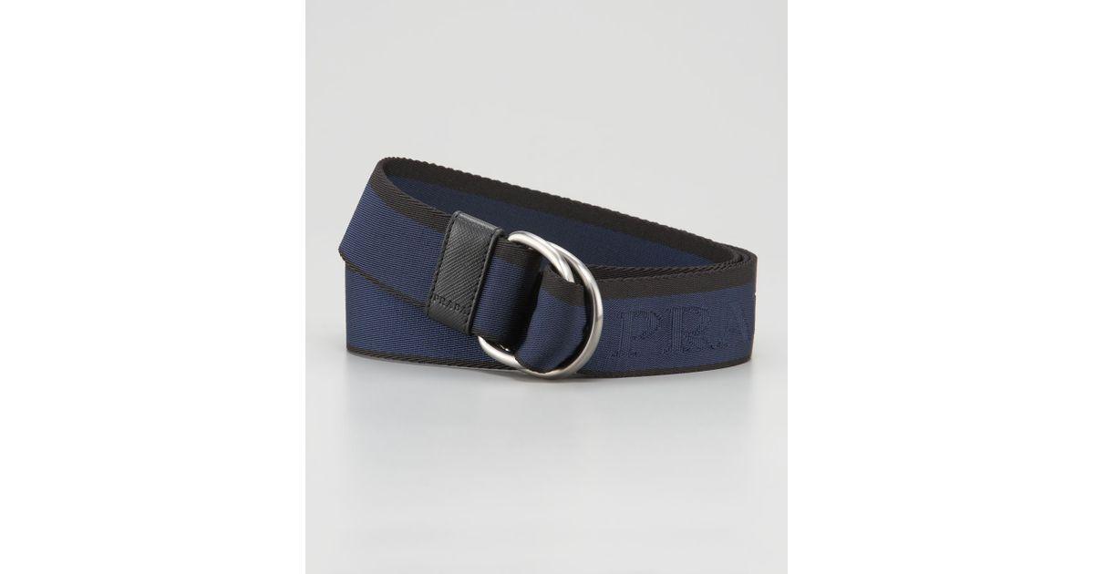 Prada Logo Belt in Blue for Men (blue black) | Lyst