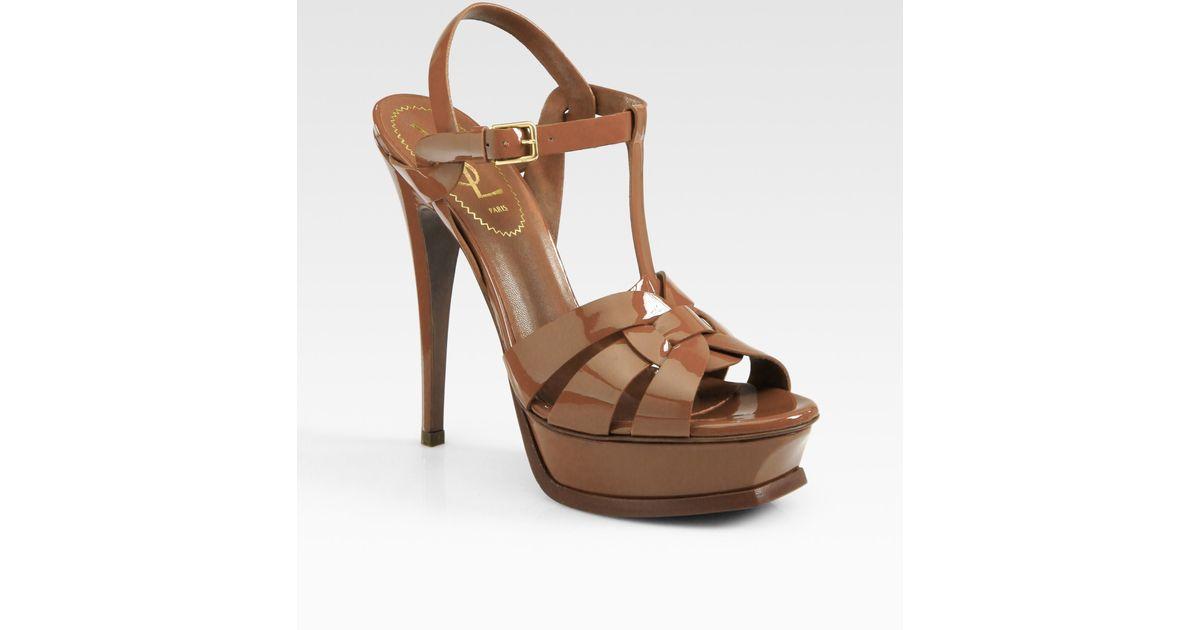 Saint Laurent Tribute Patent Leather Sandal in Dark Nude