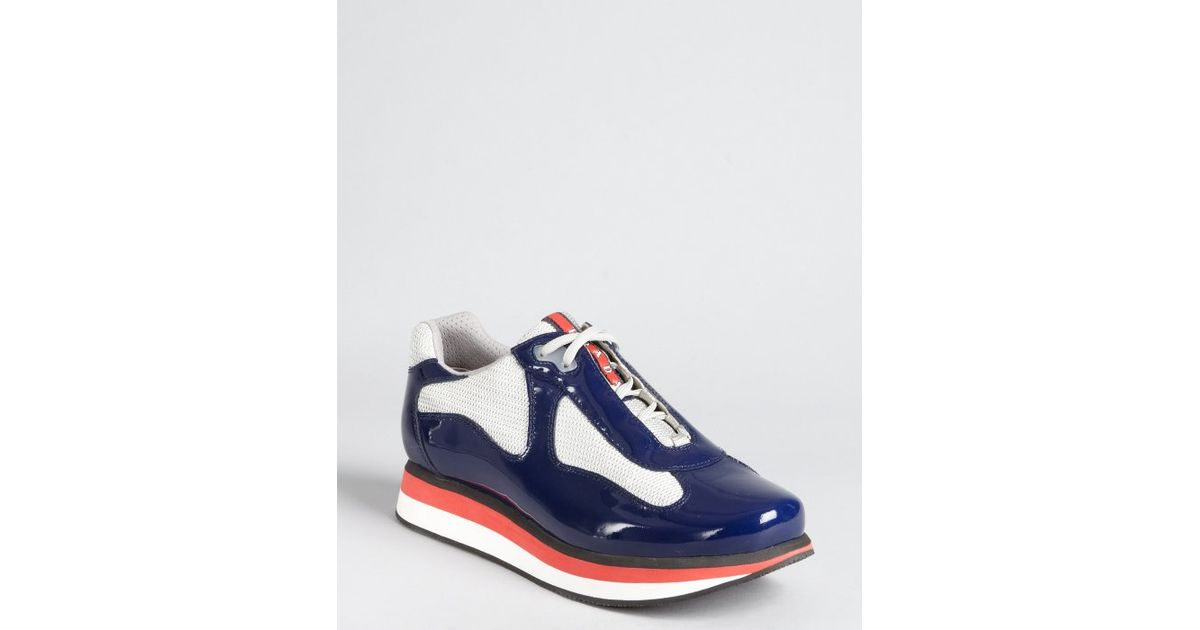 Prada Prada Sport Royal Patent Leather Mesh Panel Lace Up Sneakers ...