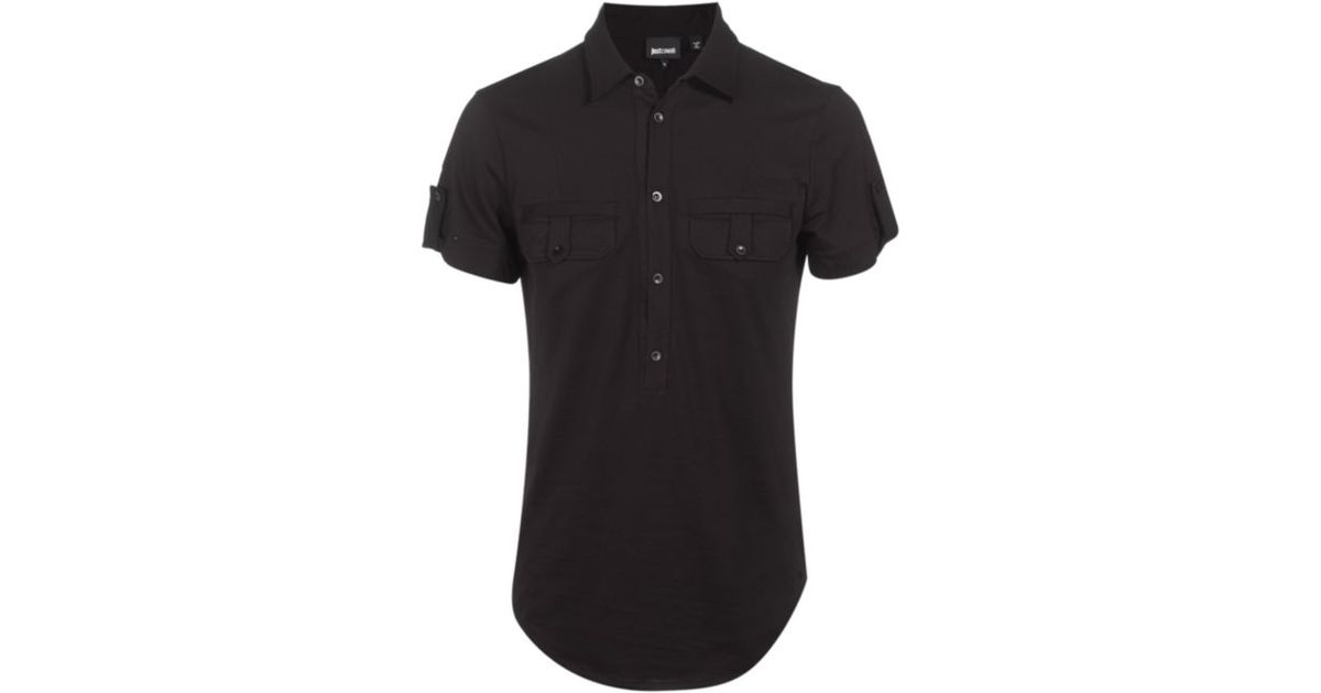 b2b0f6eb8 Just Cavalli Half Button Up Polo Shirt in Black for Men - Lyst