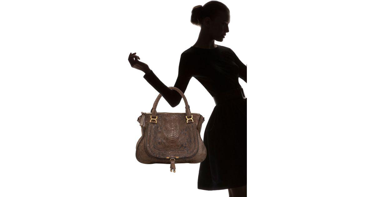 Chlo¨¦ Marcie Python Shoulder Bag Large in Brown (wood) | Lyst