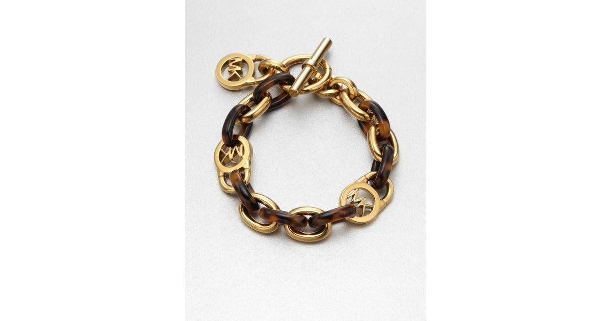 Lyst Michael Kors Tortoise Pattern Logo Lock Chain Link Bracelet In Brown