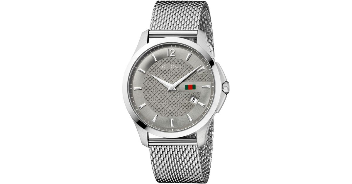 bdc6339a82d Lyst - Gucci Mens Swiss Gtimeless Stainless Steel Mesh Bracelet Watch in  Metallic for Men