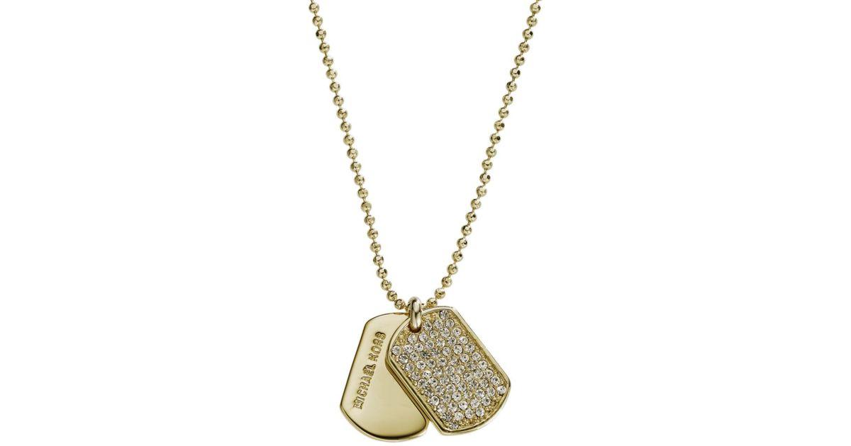 Lyst michael kors gold tone pave glass dog tag pendant in metallic aloadofball Choice Image