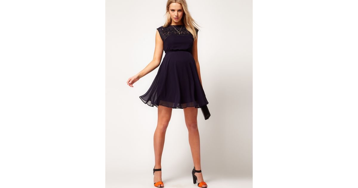 Lyst Asos Asos Maternity Exclusive Skater Dress With Lace Insert