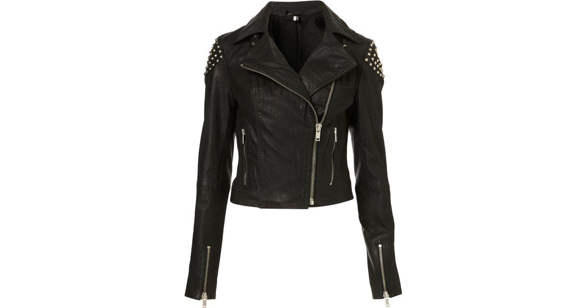 54d46a55d TOPSHOP Skull Studded Leather Biker Jacket in Black - Lyst