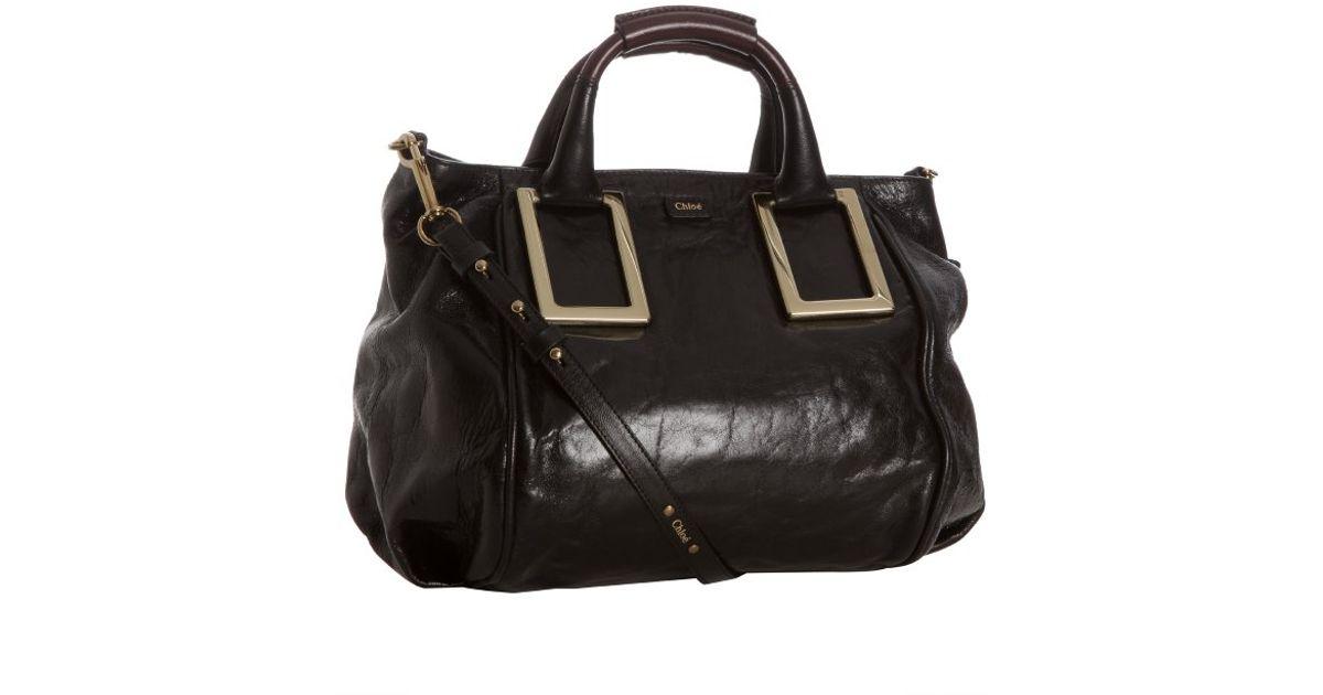 chloe black leather handbag ethel