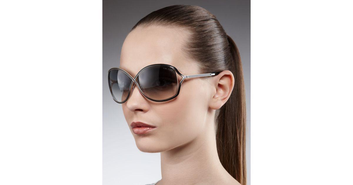2dbdd5e56eb6f Tom Ford Rickie Round Open Temple Sunglasses in Black - Lyst