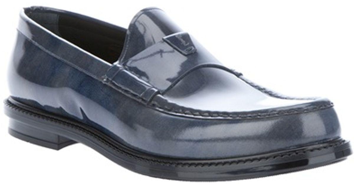 fe506cac292 Saint Laurent Patent Loafer in Blue for Men - Lyst
