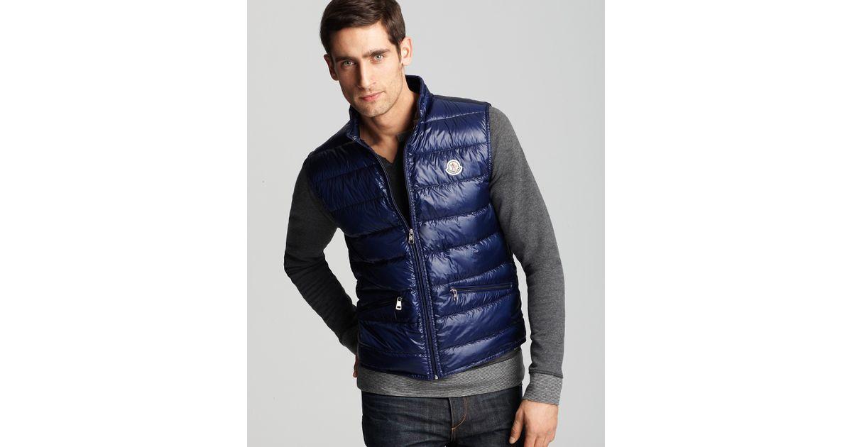 c5e0647d838a Lyst - Moncler Ink Blue Gui Down Vest in Blue for Men