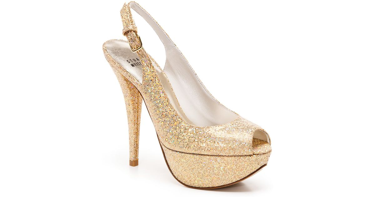 3b0aa7d5760 Lyst - Stuart Weitzman Slingbacks Vevey Glitter Peep Toe in Metallic