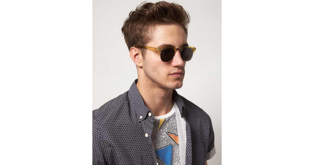 Clubmasters Sunglasses  asos asos orange crystal clubmasters sunglasses with mirror lens