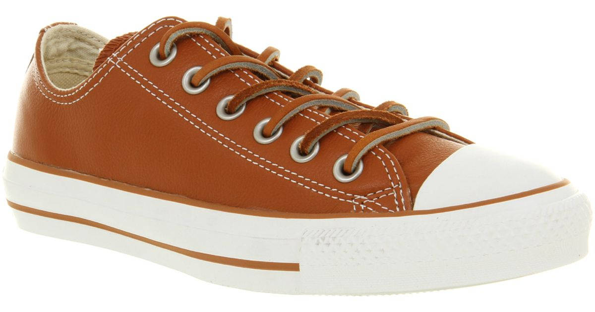 dfee30463912 ... clearance lyst converse all star leather ox low tanbrown smu in brown  for men 6062c f8663