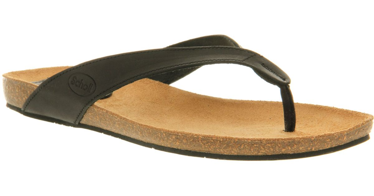 83ecdd2279aa Scholl Tist Toe Bar Sandal Black Leather in Black - Lyst