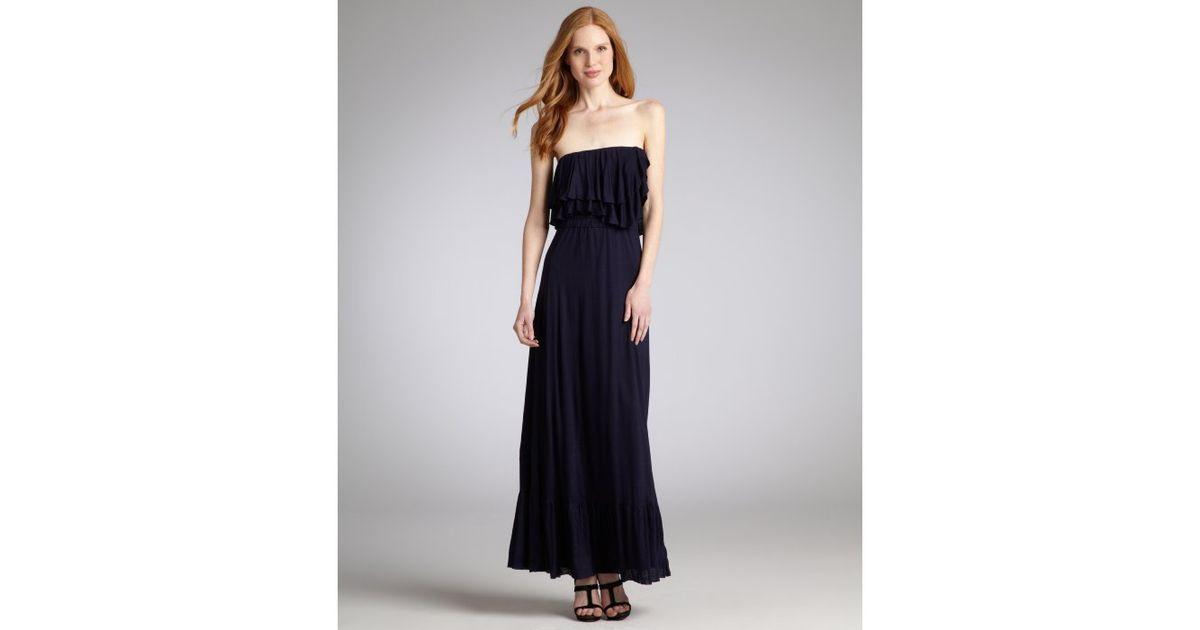 Navy strapless maxi dress