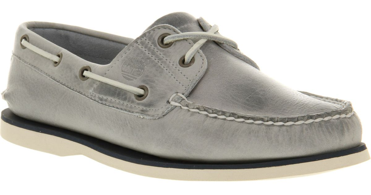 04ad2f9d3fbf Timberland Classic 2 Eye Boat Shoe Grey Leather in Gray for Men - Lyst