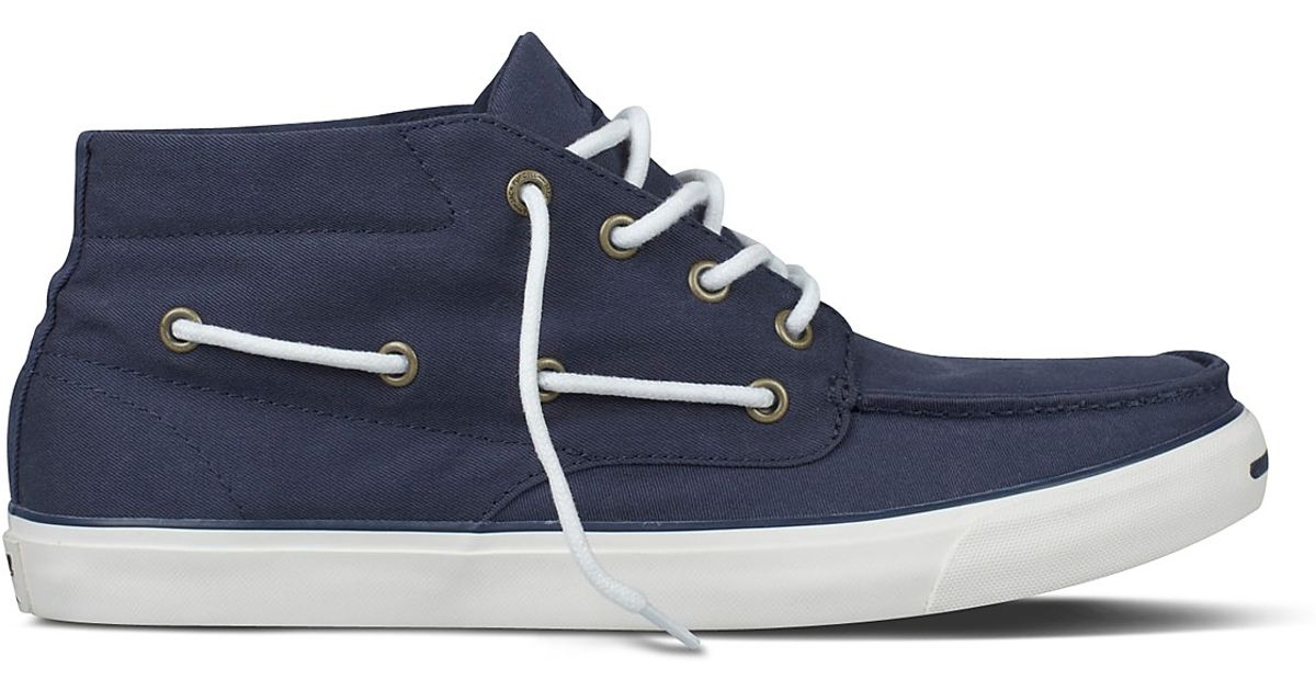 cbe70419cb87 Lyst - Converse Jack Purcell Mid Rise Boat Shoes in Blue for Men