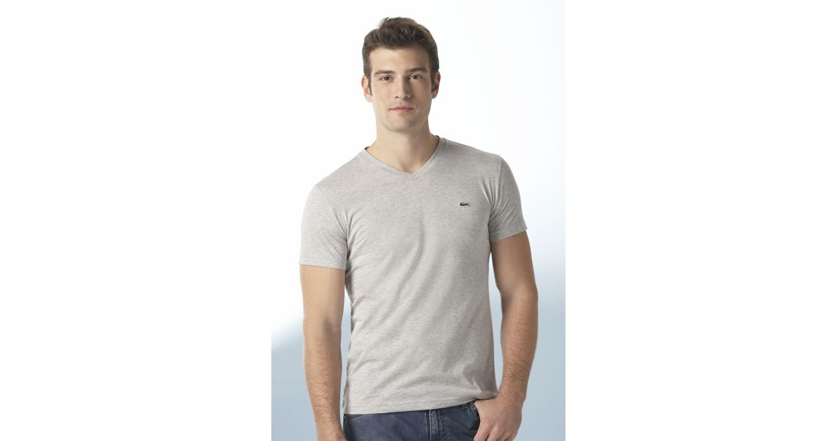 8672ec6a872c Lyst - Lacoste Pima Cotton V Neck Tee Shirt in Gray for Men