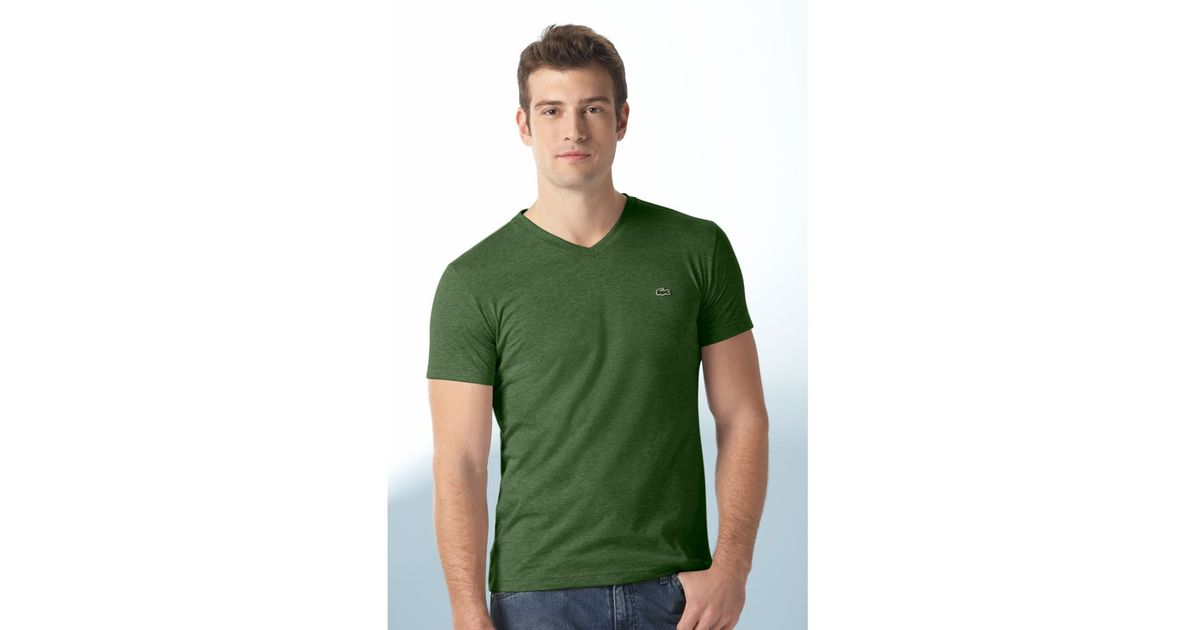 a1fe483b3cc5 Lyst - Lacoste Pima Cotton V-Neck Tee Shirt in Green for Men