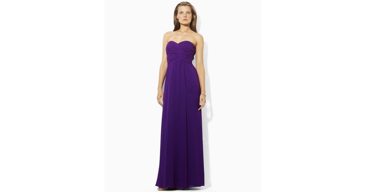 Lyst - Ralph Lauren Strapless Evening Gown in Purple