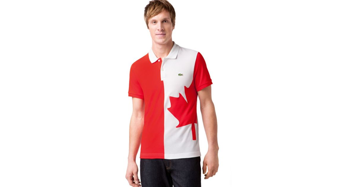 Lyst lacoste canada flag pique polo shirt in red for men for Made in canada dress shirts