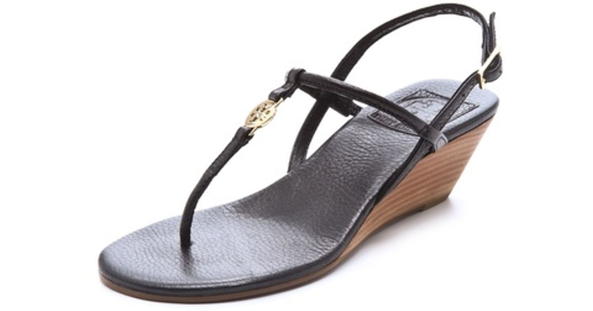 cd6bc81802be5 Lyst - Tory Burch Emmy Wedge Sandals in Black