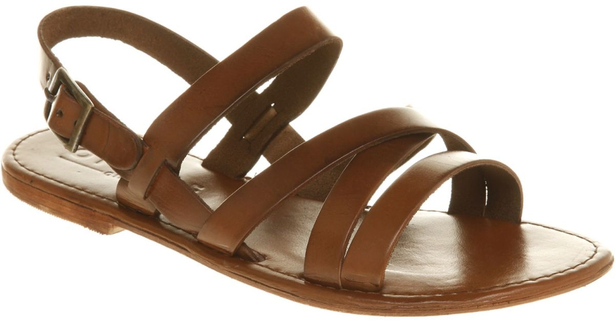 11efd63db5d935 Office Strider Sandal Tan Leather in Brown - Lyst