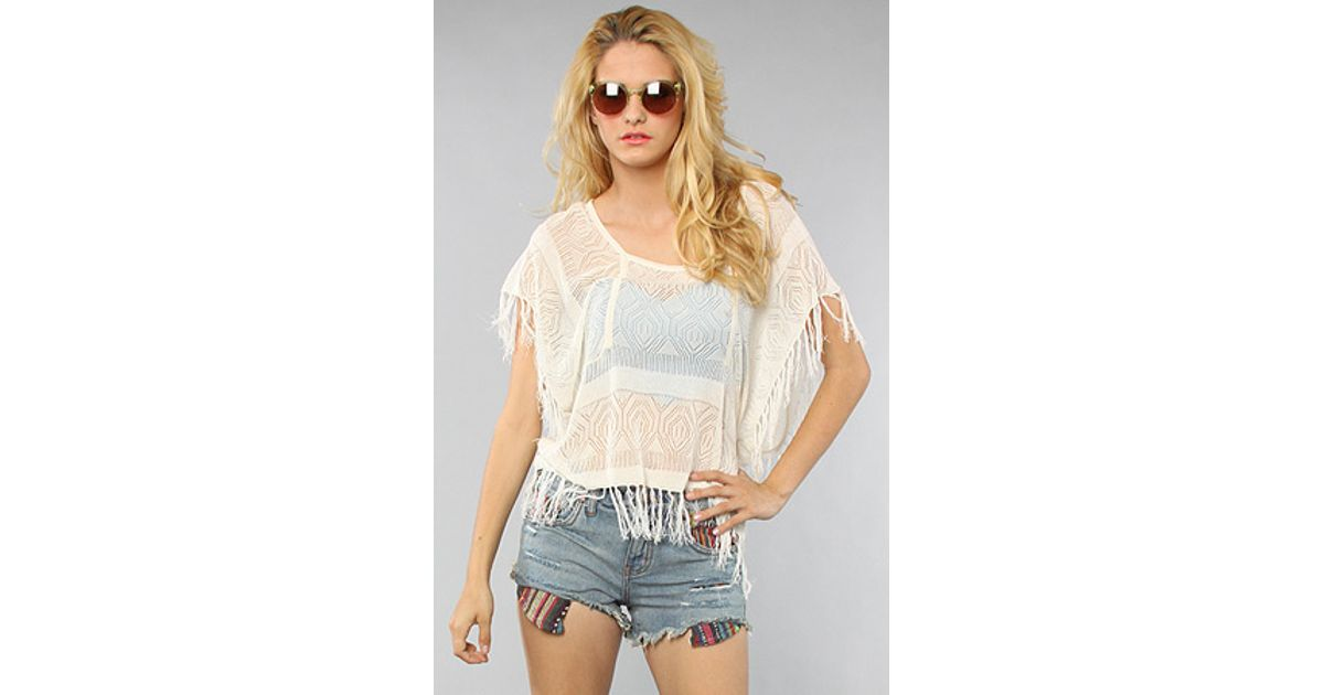 Lyst Quiksilver The Love Story Crochet Fringe Top In White