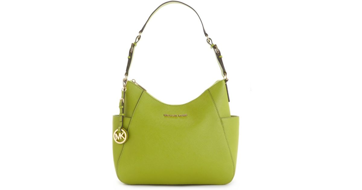 Lyst Michael Kors Jet Set Travel Saffiano Leather Medium Shoulder Bag In Green