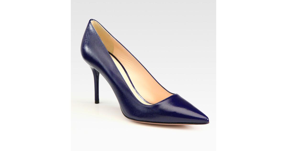 1842823bdd3 Lyst - Prada Saffiano Leather Point Toe Pumps in Blue