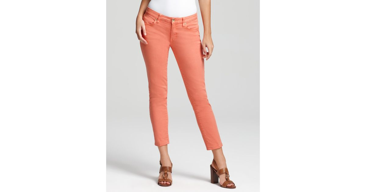 e03a78469a Lyst - Tory Burch Cropped Skinny Jeans in Sunkist in Orange