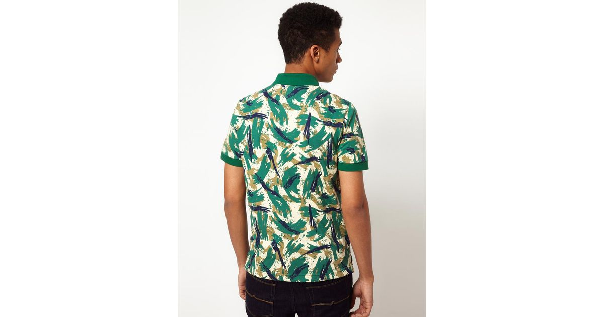 2a125ac1 Lacoste L!ive Lacoste Live Slim Fit Printed Polo in Green for Men - Lyst