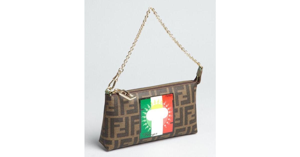 df172b8959bb ... canvas f9257 db67b  france lyst fendi tobacco zucca spalmati flag chain  strap bag in brown 8cbb2 1289d